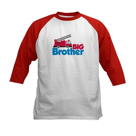 Fire Engine Big Brother Kids Baseball Jersey