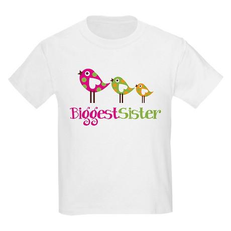 Tweet Birds Biggest Sister Kids Light T-Shirt