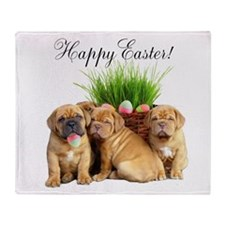 Easter Dogue de Bordeaux Throw Blanket