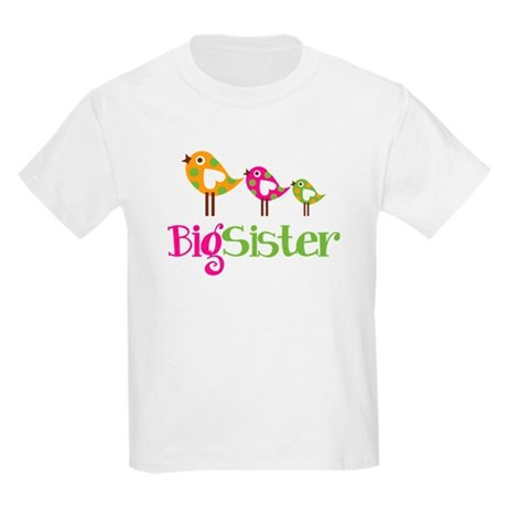 Tweet Birds Big Sister Kids Light T-Shirt