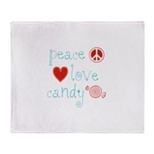 Peace, Love and Candy Throw Blanket