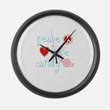 Peace, Love and Candy Large Wall Clock