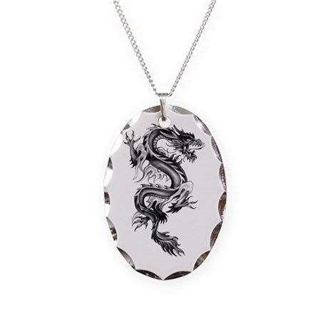 Flaming Dragon Necklace Oval Charm