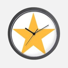 Five Pointed Yellow Star Wall Clock