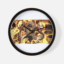 Golden Fire Dragon Wall Clock