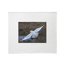 Snowy Owl in flight Throw Blanket