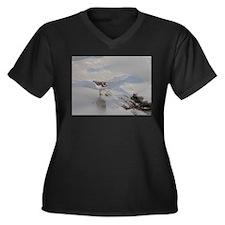 Plover Women's Plus Size V-Neck Dark T-Shirt