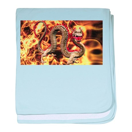 Golden Fire Dragon baby blanket