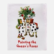 Painting the Queen's Roses Throw Blanket
