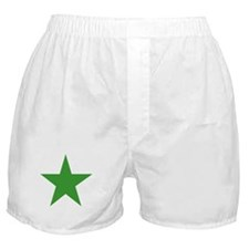 Five Pointed Green Star Boxer Shorts