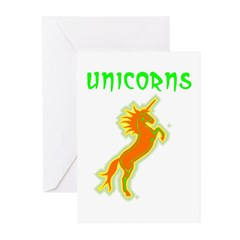 unicorns (or. & gr.) Greeting Cards (Pk of 10)