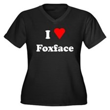 I Heart Love Foxface Women's Plus Size V-Neck Dark