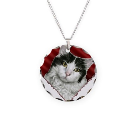 White-Black Cat Heart Necklace Circle Charm