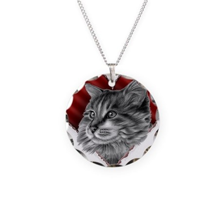 Maine Coon Valentine Necklace Circle Charm