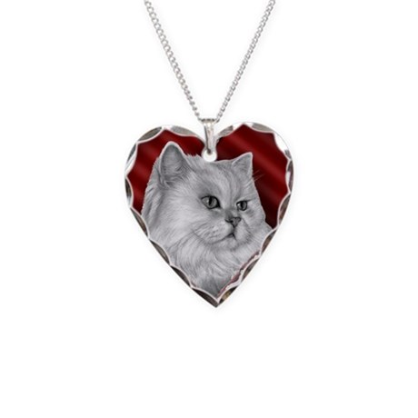Persian Cat Heart Necklace Heart Charm