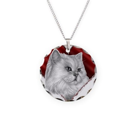 Persian Cat Heart Necklace Circle Charm