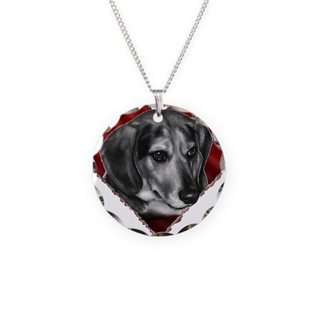 Beagle Mix Valentine Necklace Circle Charm