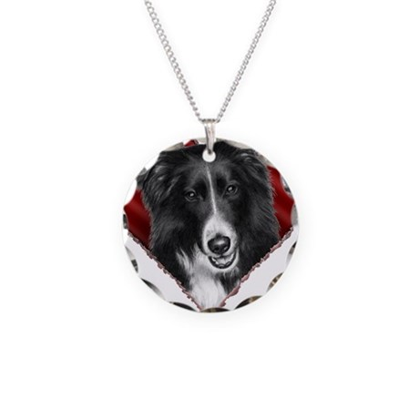 Border Collie Valentine Necklace Circle Charm