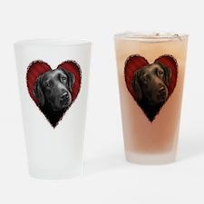 Labrador Retriever Valentine Drinking Glass