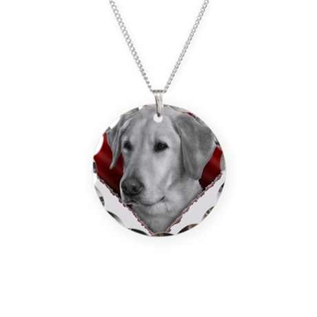 Yellow Lab Valentine Necklace Circle Charm