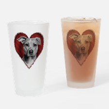 Pit Bull Terrier Valentine Drinking Glass