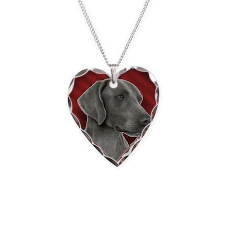 Weimeraner Valentine Necklace Heart Charm