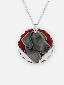 Weimeraner Valentine Necklace Circle Charm