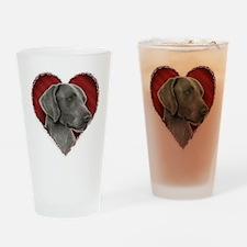 Weimeraner Valentine Drinking Glass