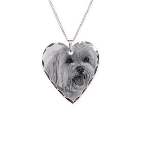 Sadie, Maltese Necklace Heart Charm