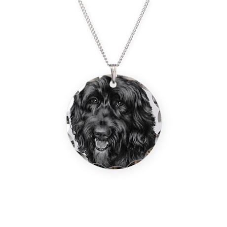 Happy, Mixed Breed, Necklace Circle Charm
