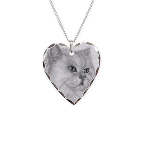 Persian Cat Necklace Heart Charm