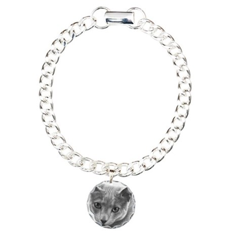 Russian Blue Cat Charm Bracelet, One Charm