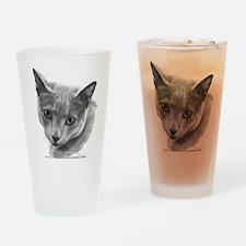 Russian Blue Cat Drinking Glass