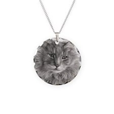 Long-Haired Gray Cat Necklace