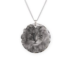 Long-Haired Gray Cat Necklace Circle Charm