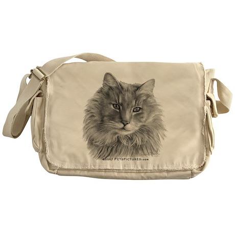 Long-Haired Gray Cat Messenger Bag