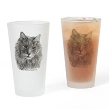 Long-Haired Gray Cat Drinking Glass