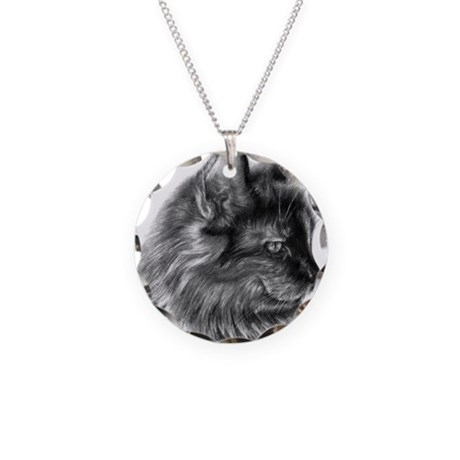 Tortoise Long-Hair Cat Necklace Circle Charm