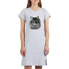 Long-Haired Gray Cat Women's Nightshirt