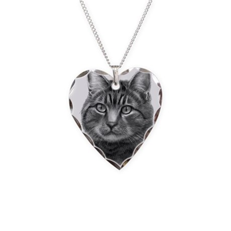 Tiger Cat Necklace Heart Charm