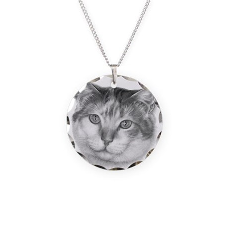 Calico Cat Necklace Circle Charm