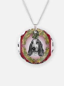 Bassett Hound Mistletoe Necklace