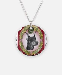 Doberman Pinscher Christmas Necklace