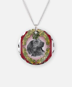 Long-Haired Dachshund Christm Necklace