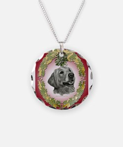 Golden Retriever Mistletoe Necklace