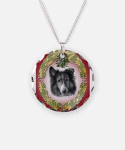 Rough Collie Christmas Necklace