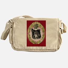 Rough Collie Christmas Messenger Bag