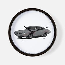 1970 GTO Judge Palladium Silver Wall Clock