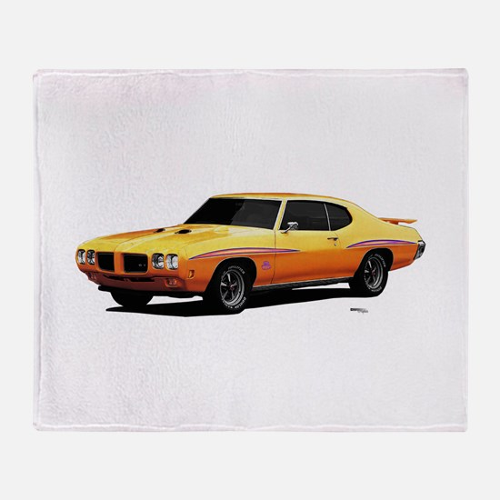 1970 GTO Judge Orbit Orange Throw Blanket