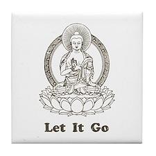 Vintage Buddha Let It Go Tile Coaster